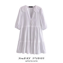 Dress Summer 2021 white XS,S,M,L Short skirt singleton  Short sleeve street V-neck Loose waist Solid color Single breasted A-line skirt puff sleeve Others Stitching, ruffle, embroidery Europe and America