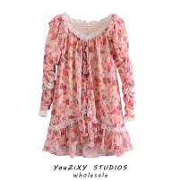 Dress Autumn 2020 Decor S,M,L Short skirt singleton  elbow sleeve street V-neck High waist Decor Socket Ruffle Skirt Gouhua hollowed out, splicing Europe and America