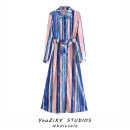 Dress Summer 2020 Decor XS,S,M,L longuette singleton  Long sleeves street High waist stripe Single breasted Lace up, stitching Europe and America