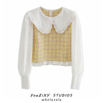 shirt Decor XS,S,M,L Autumn 2020 other 71% (inclusive) - 80% (inclusive) Long sleeves street Short style (40cm < length ≤ 50cm) Doll Collar Socket routine High waist type Splicing Europe and America