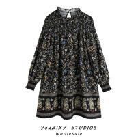 Dress Autumn 2020 Decor XS,S,M,L Short skirt singleton  Long sleeves street High waist Decor Socket Stitching, printing Europe and America