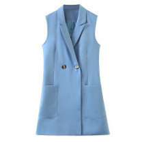 Vest Autumn 2020 blue XS,S,M,L Medium length street Solid color double-breasted Splicing
