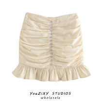 skirt Autumn 2020 S,M,L khaki Short skirt street Pleated skirt Solid color Inlaid diamond, fold Europe and America