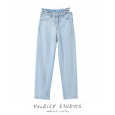Jeans Summer 2021 blue S,M,L trousers High waist Wide legged trousers routine Whiten and wash light colour