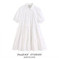 Dress Summer 2020 white XS,S,M,L Mid length dress singleton  Short sleeve street Solid color Single breasted puff sleeve Splicing Europe and America