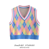 Vest Spring 2021 Average size have cash less than that is registered in the accounts V-neck Sweet Splicing