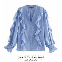 shirt blue XS,S,M,L Autumn 2020 other 71% (inclusive) - 80% (inclusive) Long sleeves Regular stand collar Single row multi button raglan sleeve Solid color Splicing, Auricularia auricula