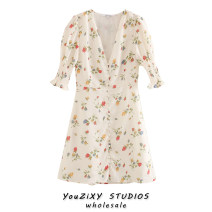 Dress Summer 2020 Decor S,M,L Short skirt Short sleeve street V-neck Decor Europe and America