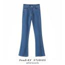 Jeans Summer 2021 blue S,M,L trousers High waist Wide legged trousers routine Whiten and wash Cotton elastic denim light colour