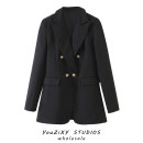 suit Autumn 2020 black XS,S,M,L Long sleeves routine double-breasted street Solid color