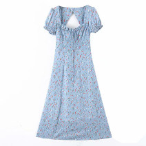 Dress Spring 2020 Decor S,M,L Mid length dress singleton  Short sleeve Sweet square neck Decor Socket Lace up, stitching Bohemia