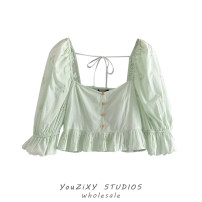 shirt Picture color XS,S,M,L Summer 2021 other 71% (inclusive) - 80% (inclusive) Long sleeves Sweet Short style (40cm < length ≤ 50cm) square neck Single row multi button puff sleeve Solid color High waist type Stitching, folding, strapping Countryside