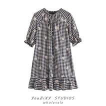 Dress Summer 2020 Decor XS,S,M,L Middle-skirt singleton  Short sleeve street V-neck lattice Single breasted Ruffle Skirt puff sleeve Type A Lace, stitching Europe and America