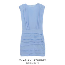 Dress Summer 2020 blue S,M,L Short skirt singleton  Sleeveless street Crew neck High waist Solid color Socket A-line skirt Fold, splice Europe and America