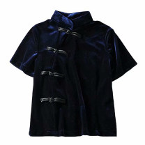 T-shirt Black, blue S, M Spring 2020 Short sleeve Self cultivation have cash less than that is registered in the accounts street other 51% (inclusive) - 70% (inclusive) Solid color Splicing Europe and America