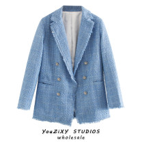 suit Spring 2020 blue XS,S,M,L Long sleeves Medium length easy tailored collar double-breasted street routine