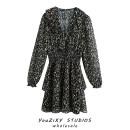 Dress Autumn 2020 Decor XS,S,M,L Short skirt singleton  Long sleeves street V-neck Animal design Socket Splicing Europe and America