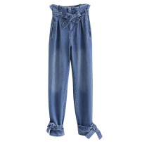 Jeans Autumn of 2019 blue S,M,L trousers High waist routine Dark color