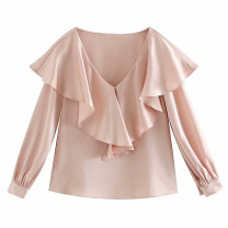 shirt Pink S,M,L Autumn of 2019 other 71% (inclusive) - 80% (inclusive) Long sleeves street Regular V-neck Socket Solid color Europe and America