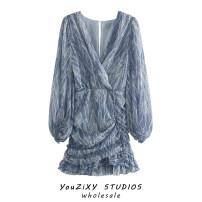 Dress Summer 2020 Decor XS,S,M,L Short skirt singleton  Long sleeves street V-neck Decor Socket puff sleeve Splicing Europe and America