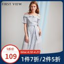 Dress Summer of 2019 060 light blue 155/80A/S 160/84A/M 165/88A/L 170/92A/XL longuette singleton  Short sleeve commute One word collar High waist Dot Socket other camisole 25-29 years old Type A FIRSTVIEW Simplicity Stitched button zipper 78204AC021335 More than 95% Chiffon polyester fiber