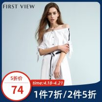 Dress Summer of 2018 012 white 155/62A/S 160/66A/M 165/70A/L 170/74A/XL Middle-skirt singleton  Short sleeve commute One word collar middle-waisted stripe Socket other routine Others 25-29 years old Type H FIRSTVIEW Ol style Lace up stitching 77203BC022333 51% (inclusive) - 70% (inclusive) other