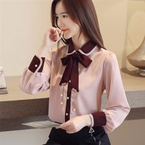 shirt White [regular], pink [regular], white [Plush], pink [Plush], black [skirt] S,M,L,XL,2XL Autumn of 2019 other 30% and below Long sleeves commute Regular Polo collar Single row multi button routine Solid color Straight cylinder Other / other Korean version 9097# Chiffon