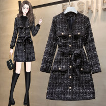 Women's large Winter 2020 Long sleeve suit, sleeveless suit Large L, large XL, large XXL, large XXL, large XXXL Dress Two piece set commute easy thick Cardigan Long sleeves Korean version Crew neck routine Acrylic, cotton Three dimensional cutting routine belt Medium length