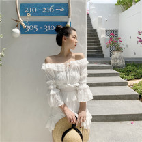 shirt Top, skirt, suit Average size Spring 2021 other 30% and below three quarter sleeve Versatile Short style (40cm < length ≤ 50cm) One word collar Socket pagoda sleeve Solid color Self cultivation