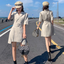 Dress Summer 2020 Light grey S,M,L,XL Short skirt singleton  Short sleeve commute tailored collar High waist Solid color Socket A-line skirt routine Others 18-24 years old Type A Korean version Lace up, button 51% (inclusive) - 70% (inclusive) other cotton