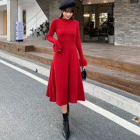 Dress Winter of 2019 Red, black S,M,L Mid length dress singleton  Long sleeves commute Crew neck High waist Solid color Socket A-line skirt pagoda sleeve Others Type A Korean version fold 71% (inclusive) - 80% (inclusive) knitting cotton
