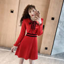 Dress Winter 2020 Red, black Average size Middle-skirt singleton  Long sleeves commute Crew neck High waist Solid color Socket A-line skirt routine Others Type A Other / other Korean version Bow, button 8230# 31% (inclusive) - 50% (inclusive) knitting other