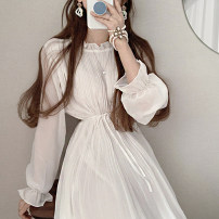 Dress Summer 2021 White, purple, black Average size longuette singleton  Long sleeves commute Lotus leaf collar High waist Solid color Socket A-line skirt pagoda sleeve Others 18-24 years old Type A Other / other Korean version 51% (inclusive) - 70% (inclusive) Chiffon other