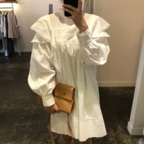 Dress Autumn 2020 Average size Middle-skirt Long sleeves stand collar Socket bishop sleeve 18-24 years old 51% (inclusive) - 70% (inclusive)