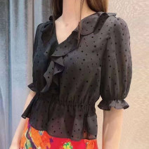 shirt black 2 / s, 3 / m, 4 / L, 5 / XL Summer 2021 other 96% and above elbow sleeve commute Regular V-neck Single row multi button routine other Self cultivation O'amash banner Ol style Chiffon