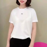 T-shirt White, orange 2 = s, 3 = m, 4 = L, 5 = XL Summer 2021 Short sleeve Crew neck easy Medium length routine commute cotton 71% (inclusive) - 85% (inclusive) Ol style Novel goldette