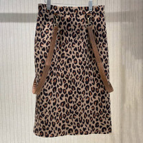 skirt Spring 2021 1 / XS, 2 / s, 3 / m, 4 / L, 5 / XL As shown in the figure Middle-skirt commute High waist skirt Leopard Print Type H O'amash banner