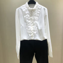 shirt Black, white 2 = s, 3 = m, 4 = L, 5 = XL Spring 2021 other 96% and above Long sleeves Versatile Regular stand collar Single row multi button routine Solid color Self cultivation Pinge Dixin Chiffon