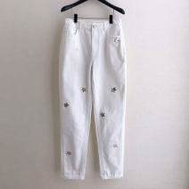 Jeans Spring 2021 White, blue 1 = XS, 2 = s, 3 = m, 4 = L, 5 = XL trousers Natural waist Straight pants routine light colour Novel goldette