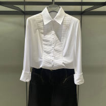shirt White, black Spring 2021 cotton 81% (inclusive) - 90% (inclusive) Long sleeves Versatile Regular Polo collar Single row multi button routine Solid color Self cultivation
