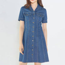 Dress Summer 2021 Blue, light blue 2 = s, 3 = m, 4 = L, 5 = XL Middle-skirt singleton  Short sleeve commute other High waist Solid color Single breasted other routine Others Type H Pinge Dixin Ol style 81% (inclusive) - 90% (inclusive) other
