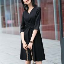 Dress Summer 2021 black 2 / s, 3 / m, 4 / L, 5 / XL Middle-skirt singleton  elbow sleeve commute V-neck middle-waisted Solid color Socket other other Others Type A Pinge Dixin 51% (inclusive) - 70% (inclusive) other other