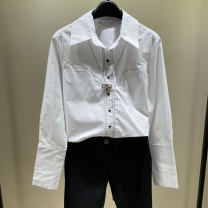 shirt Black, white, red 2 / s, 3 / m, 4 / L, 5 / XL Spring 2021 cotton 96% and above Long sleeves commute Regular Polo collar Single row multi button routine Solid color Self cultivation O'amash banner Ol style