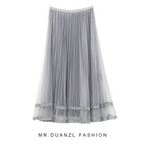 skirt Summer 2020 75-130 Jin Grey, black, apricot, pink Mid length dress grace High waist Pleated skirt Solid color Type A 18-24 years old More than 95% polyester fiber fold