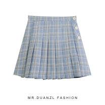 skirt Spring 2021 S,M,L Khaki, blue Short skirt fresh High waist Pleated skirt lattice Type A 18-24 years old Button, zipper