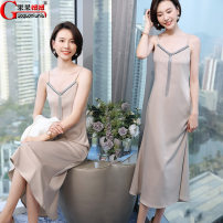 Dress Summer 2021 S,M,L,XL,2XL longuette singleton  Sleeveless commute V-neck middle-waisted Solid color zipper A-line skirt routine camisole 18-24 years old Type A Korean version 51% (inclusive) - 70% (inclusive) Chiffon polyester fiber