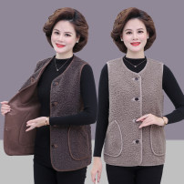 Middle aged and old women's wear Winter 2020, autumn 2020 XL recommended 90-115 kg, 2XL recommended 115-130 kg, 3XL recommended 130-145 kg, 4XL recommended 145-160, 5XL recommended 160-175 kg, collection plus shopping cart preferred delivery White, green, dark brown, light brown commute Vest easy
