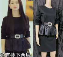 Dress Spring of 2019 Black dress + belt Xs, s, m, l, XL, 2XL, 3XL, custom size (3-5 days delivery) Short skirt commute Solid color Ruffle Skirt Splicing knitting cotton