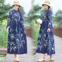 Dress Autumn of 2019 Picture color M,L,XL,2XL longuette Long sleeves commute stand collar Loose waist Socket 25-29 years old 30% and below brocade hemp