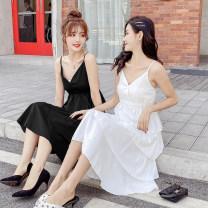 Dress Summer 2020 White, black S,M,L,XL singleton  Sleeveless commute V-neck middle-waisted Solid color Cake skirt 18-24 years old Korean version other